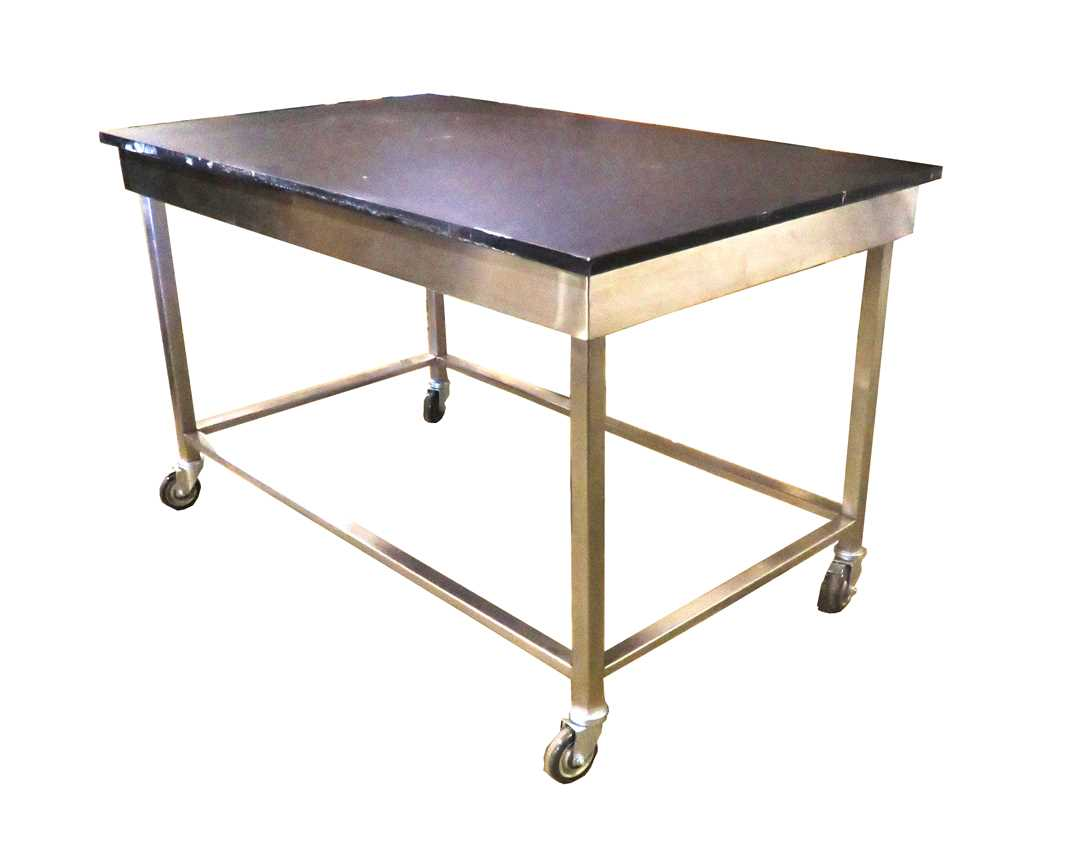 Heavy Duty Lab epoxy resin table with SS frame Wheeles