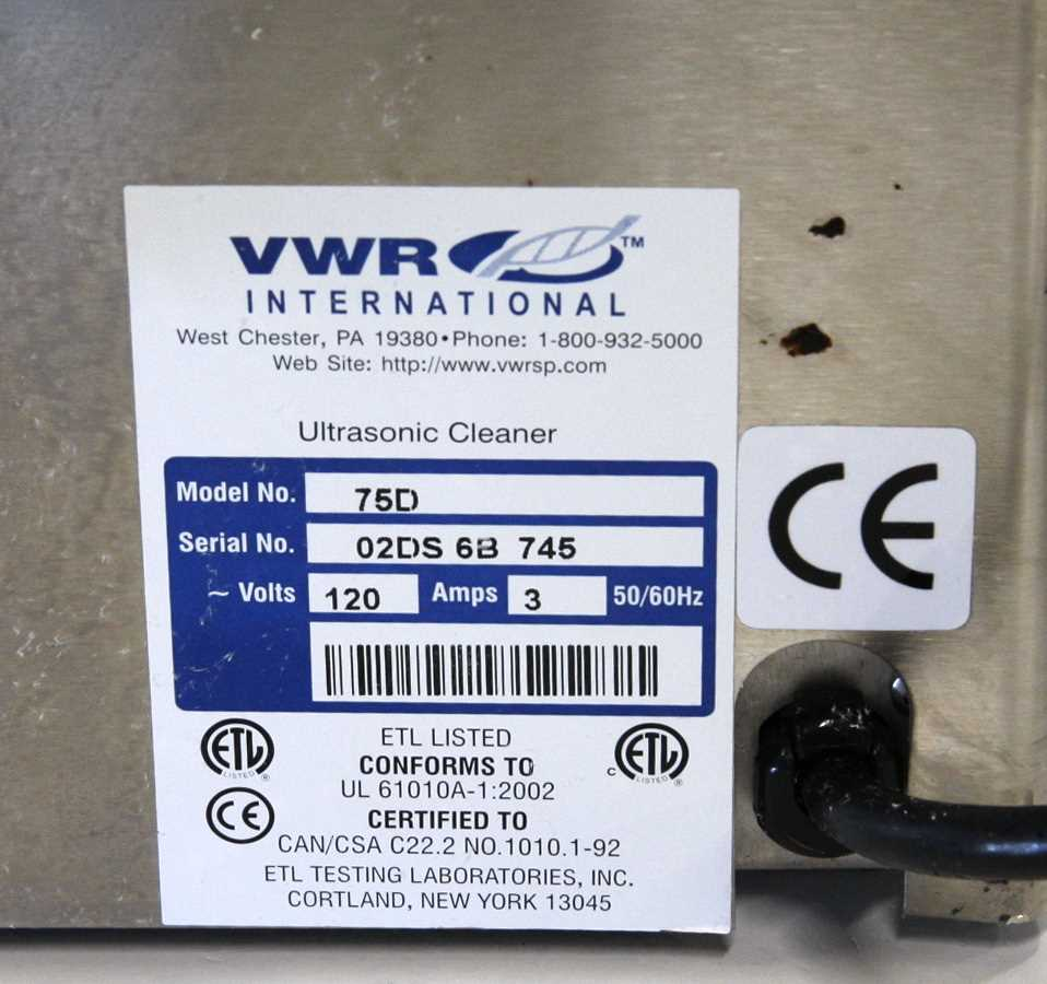 VWR Ultrasonic Cleaner Model 75D - 1