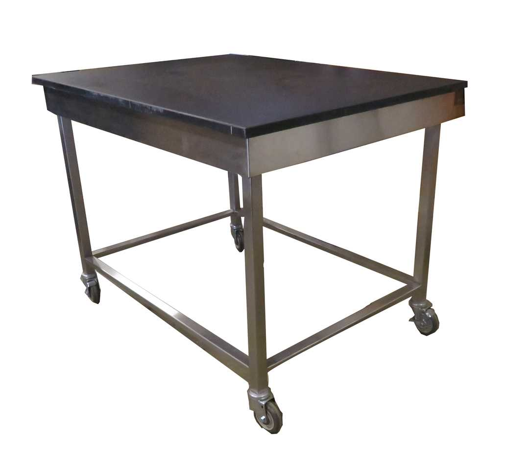 Lab epoxy table with stainless steel frame