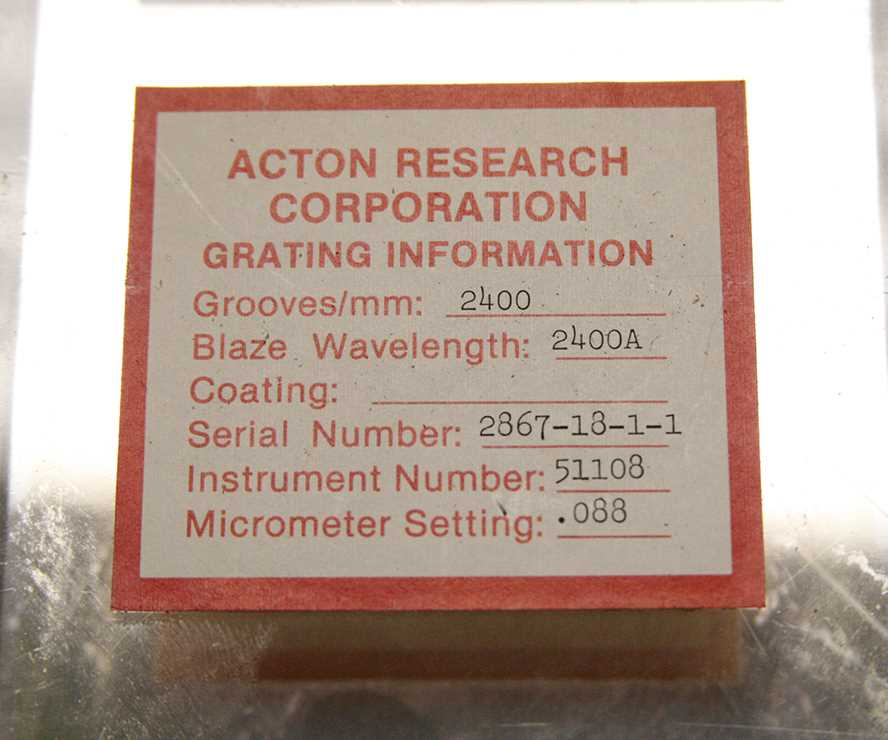 Diffraction Grating 2400 Grooves mm  Acton Research