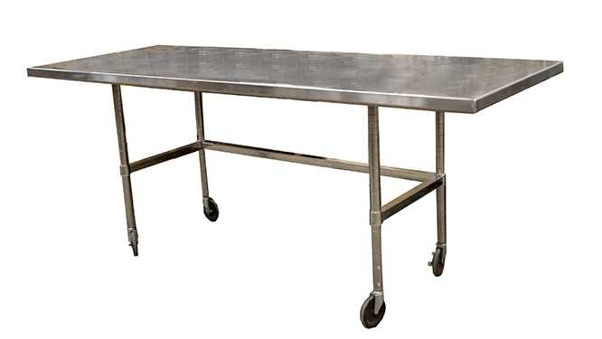 Stainless steel table on rollers