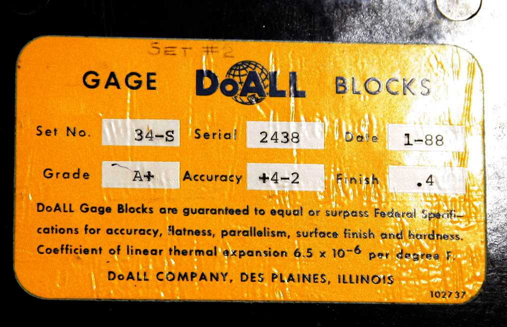 DoAll Set 34-S Precision Gage Block Set - 1